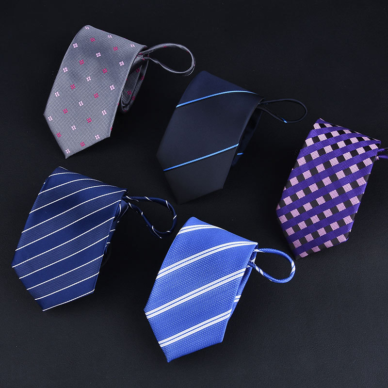 2019 Men's Business Tie 7*48cm Zipper Necktie 1200 Needle Plain Twill Solid Color Easy To Pull Gifts For Men Designers Fashion