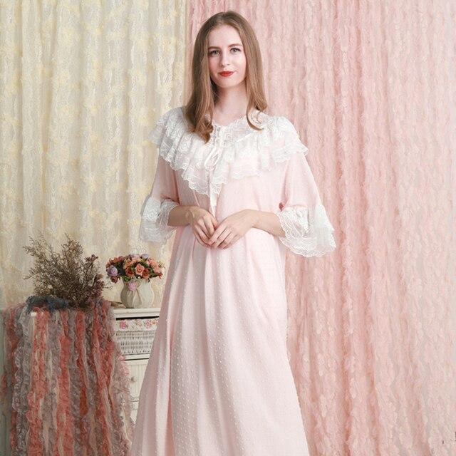 כתונת לילה נשים הלבשת רופפת שמלת קיץ תחרה תחרה כותנה כתונת לילה ורוד לבן ירוק כותונת 6 צבע