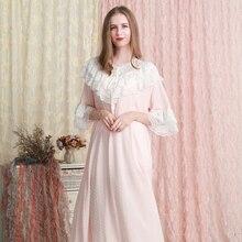 나이트 가운 여성 느슨한 잠옷 복장 여름 레이스 레이스 코튼 나이트 가운 핑크 화이트 그린 Nightdress 6 색