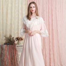 Nightgown Women Loose Sleepwear Dress Summer Lace lace cotton Nightgown Pink White Green Nightdress 6 color