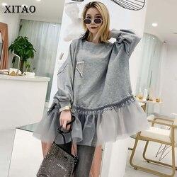 Женская плиссированная Толстовка XITAO, элегантный пуловер составного кроя в Корейском стиле со стразами, WQR1548, осень 2019