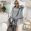 XITAO Flut Patchwork Mesh Plissee Sweatshirt Diamanten Frauen Kleidung 2019 Elegante Mode Pullover Top Herbst Koreanische WQR1548