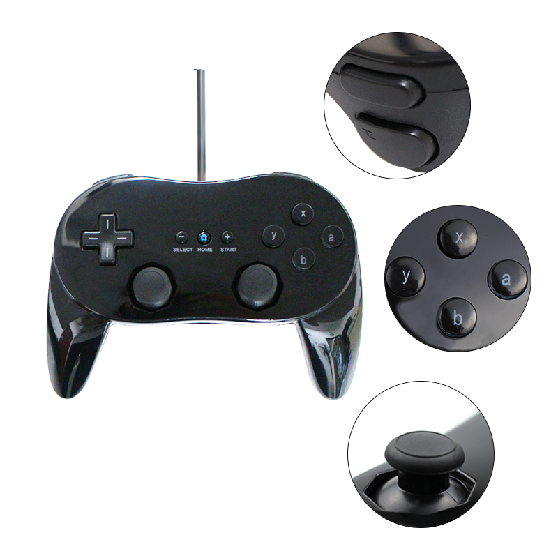 White/Black Classic Wired Game Controller Gaming Pro Remote Gamepad For Nintendo Wii
