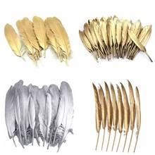 Оптовая продажа золотых и серебряных перьев гусиного пуха перья