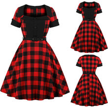 2019 New Womens Dresses Fashion Vintage Black/Red lattice Printing O-Neck Short Sleeve Casual Swing Loose Dress robe femme(China)