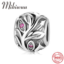 Mode 925 Sterling Silber Rosa CZ Blatt Cane Reben Runde Perlen fit Original Pandora Charme Armbänder Frauen Jewerly Machen(China)