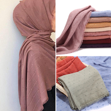 Neue Design Frauen Muslimischen Plain Baumwolle Hijab Schal Mode islamischen Kopf Schal Feste Stirnband Wraps Weiblichen Pashmina Lange Schals