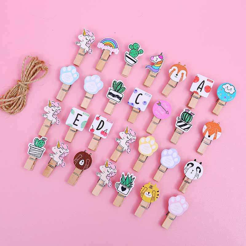 10 Pcs/set Colored Wooden Clip Christmas Decor Cute Cactus Unicorn Memo Paper Clips Stationery Clothespin Craft Clips Pegs