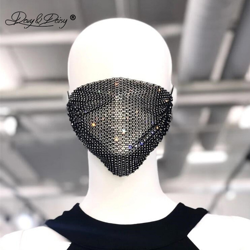 DAVYDAISY Women Sexy Rhinestones Face Mask New Facial Decorations Party Rave Club Fashion Veils Cosplay Shining Masks AC702