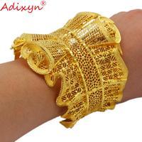 Adixyn Exaggeration Gold Bangle For Women Big Size Cuff Bracelet Jewelry Dubai Ethiopian Middle East Bridal Wedding Gifts N12141