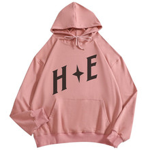 цена на Cotton teen girl pullover hooded long sleeve Harajuku simple letter print hooded costume streetwear