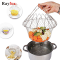 Кухонные принадлежности из нержавеющей стали, складная корзина для мытья овощей и фруктов, креативная кухонная корзина для приготовления п...