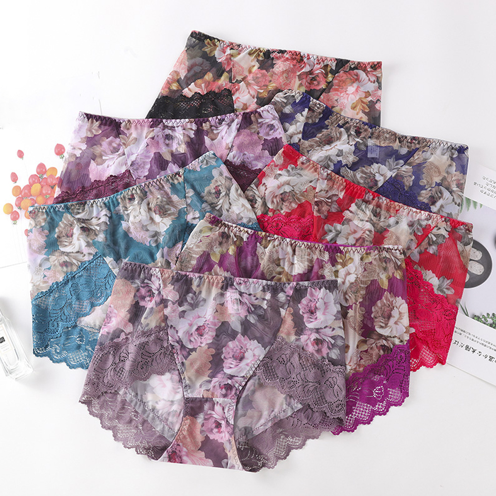 Seamless High-end Lace Transparent Embroidered Middle Waist Ladies Sexy Breathable Panties Flower Pattern Panties