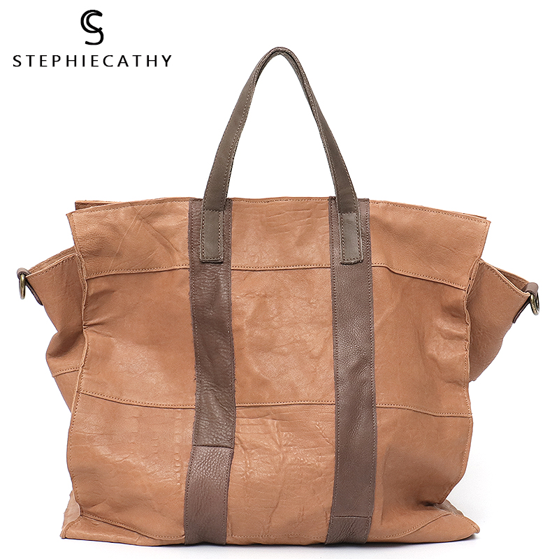 SC Large Genuine Leather Tote Bag Women Vintage Handbag Soft Cow Leather Patchwork Ladies Casual Top-handle Shopping Bag Female