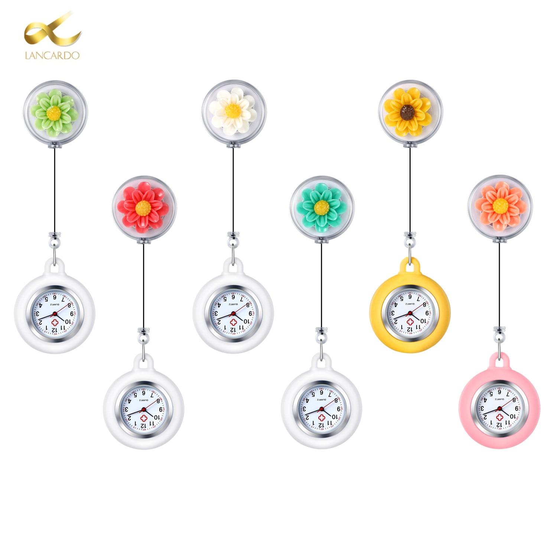 LANCARDO Pocket Watch Lady Colorful Flower Quartz Clip Brooch Nurse Hanging Pocket Watch Relogio Feminino Saat Dropshipping