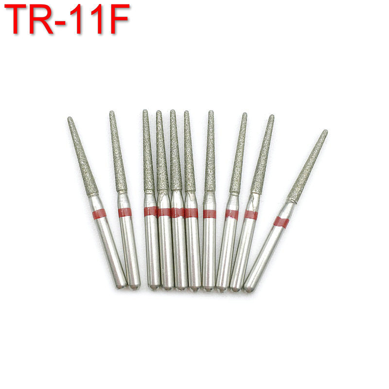 10pcs/pack Dental Diamond Burs Drill For Dentistry Handpiece Handle Diameter 1.6mm Dentist Tools TR-11F