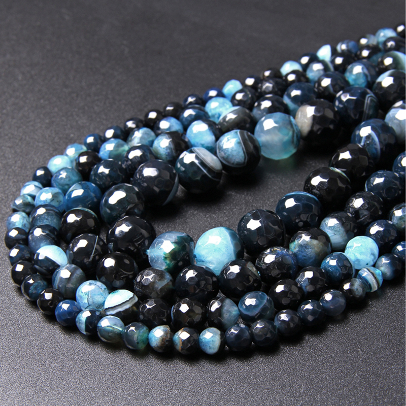 "Top Quality Natural Stone Light Blue Quartz Agates Beads Black Faceted Round Agat Gem Stone For Jewelry Making Accessries 15.5""(China)"