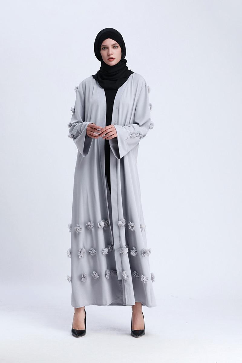 Image 5 - Flower Islamic Muslim Dress With Belt Women Dubai Abaya Black  Robe Long Sleeve Elegant Design Maxi Dresses Clothes Female  LadiesIslamic Clothing
