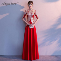 Fashion Mermaid Long Cheongsam Red Modern Bride Vintage Gown Qi Pao Women Traditional Chinese Evening Dress Qipao Promotion