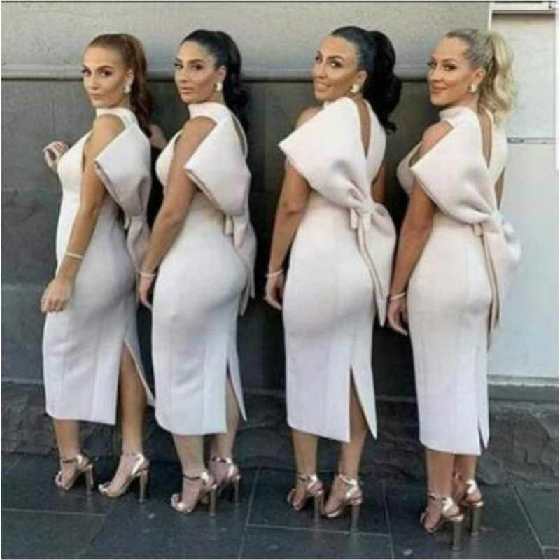White Dress Party with Back Big Bowtie Sexy Women Vestido Sleeveless Bridesmaid's Gown Club Bodycon Event Celebrate Fashion Wear