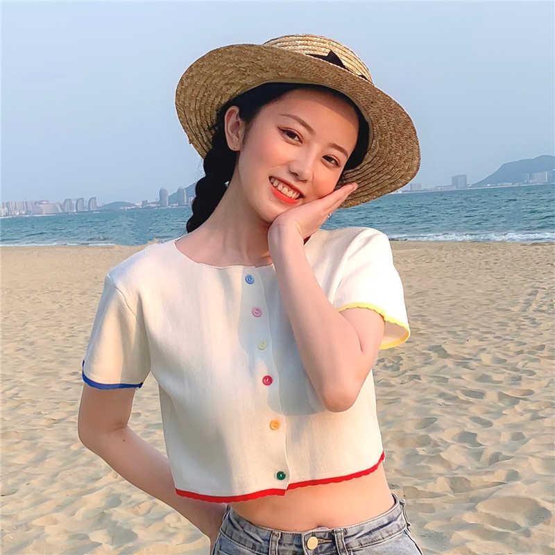 O-hals Gebreide Casual Korte Mouw Dunne Trui Vesten Vrouwen Zomer Kleurrijke Knoppen Vest Shirts Crop Tops Voor Meisjes