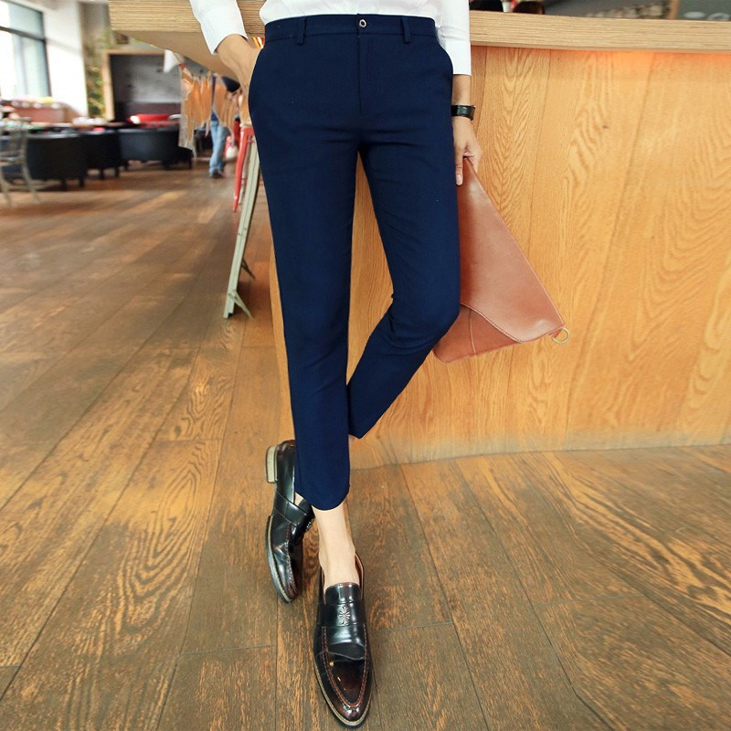 Autumn Thin Men Capri Pants Men's Skinny Korean-style Slim Fit BOY'S 9 Points Pants Teenager Trend Casual Pants