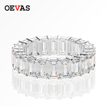 OEVAS Full 3*5mm High Carbon Diamond Wedding Rings For Women Top Quality 100% 925 Sterling Silver Sparkling Party Fine  Jewelry