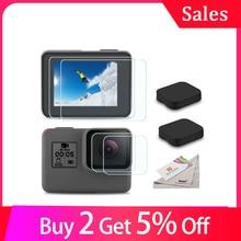 Cristal templado, lente pantalla LCD protectora para Go Pro, Gopro Hero 5, 6, 7, Hero5, Hero6, Hero7, tapa de lente de cámara, conjunto de película protectora
