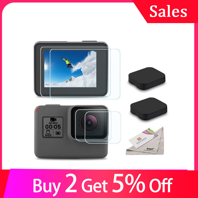 Verre trempé lentille LCD écran de protection pour Go Pro Gopro Hero 5 6 7 Hero5 Hero6 Hero7 caméra lentille capuchon couverture protecteur Film ensemble