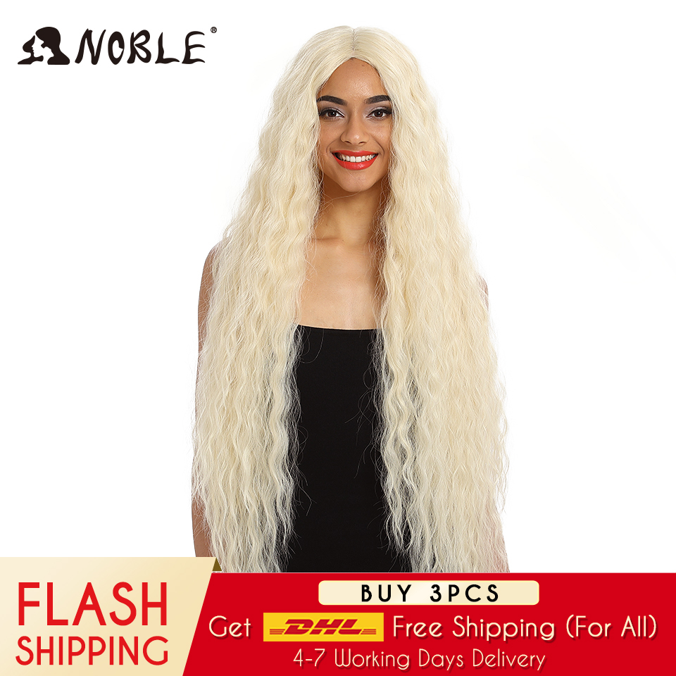 Noble Hair Synthetic Wig Lace Front Synthetic Wig Long Curly Ombre Blonde Wig 42 Inch 613 American Synthetic Lace Front Wig title=