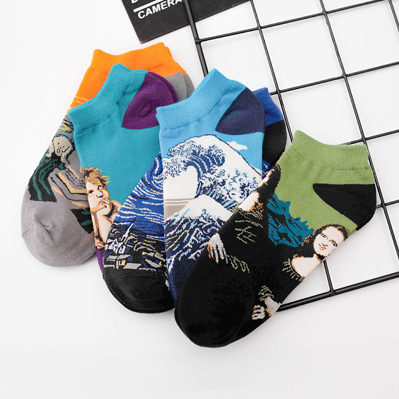 World Famous Painting Series Mona Lisa Angel Ladies Cotton Boat Socks Wholesale Low Side Shallow Mouth Sports Leisure Socks