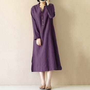 2020 vestido de Invierno para mujer vestido de algodón Vintage Cierre de botón frontal cuello en V manga larga con dobladillo dividido bolsillo vestido largo Midi Suelto