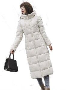 Image 1 - S 6XL jesienno zimowa damska Plus rozmiar moda bawełniane puchowe kurtki z kapturem długie parki ciepłe kurtki damskie zimowe ubrania