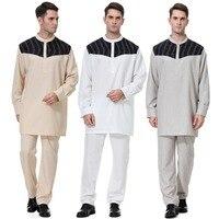 Muslim Clothing For Mens Male O Neck Long Sleeve Kaftan Jubba Thobe White Abaya Arab clothing Man Islamic clothing Ropa Arabe