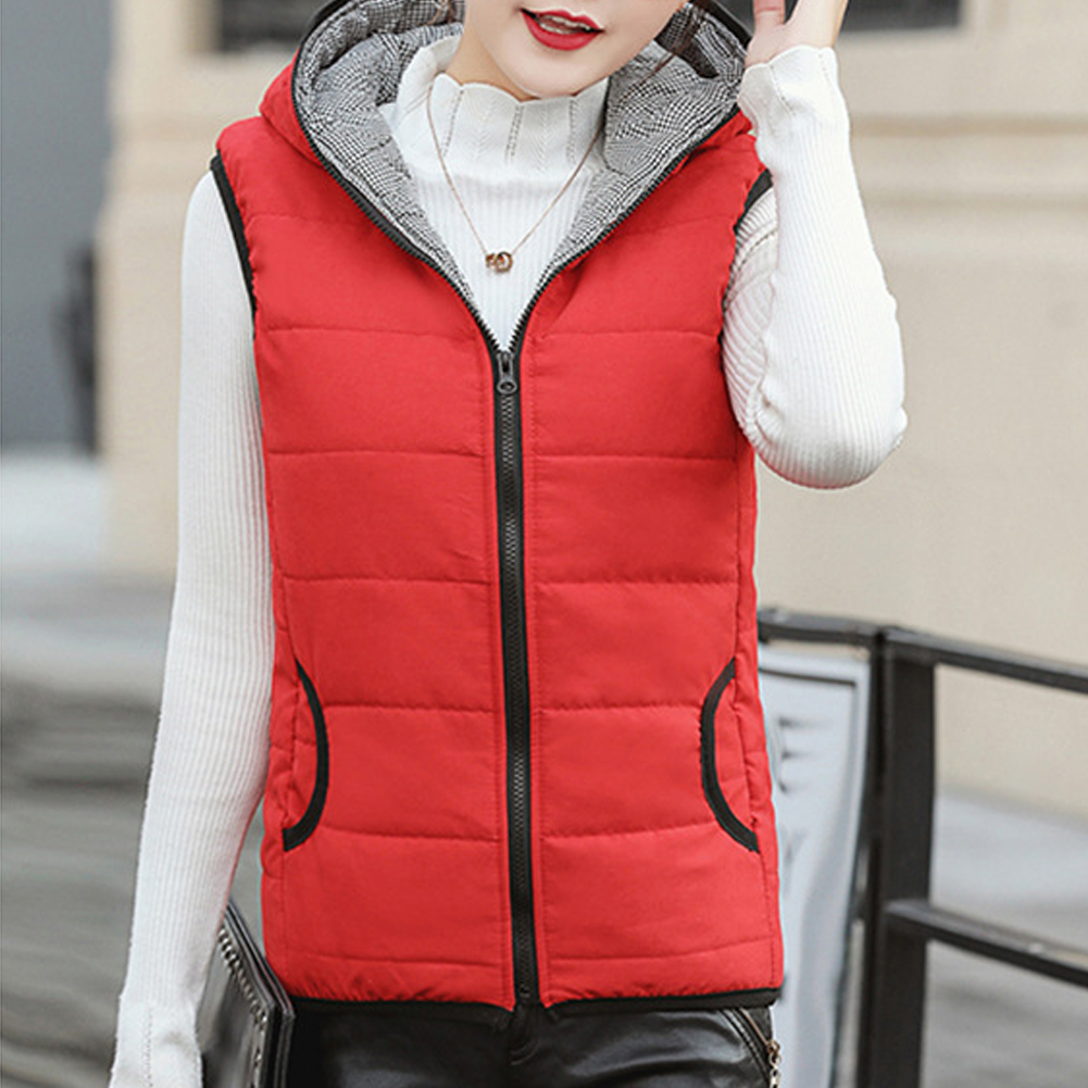 Autumn Winter Soft Solid Windproof Daily Slim Women Waistcoat Outerwear Casual Hooded Vest Sleeveless Warm Home Outdoor Vest|Hiking Vests|   - title=