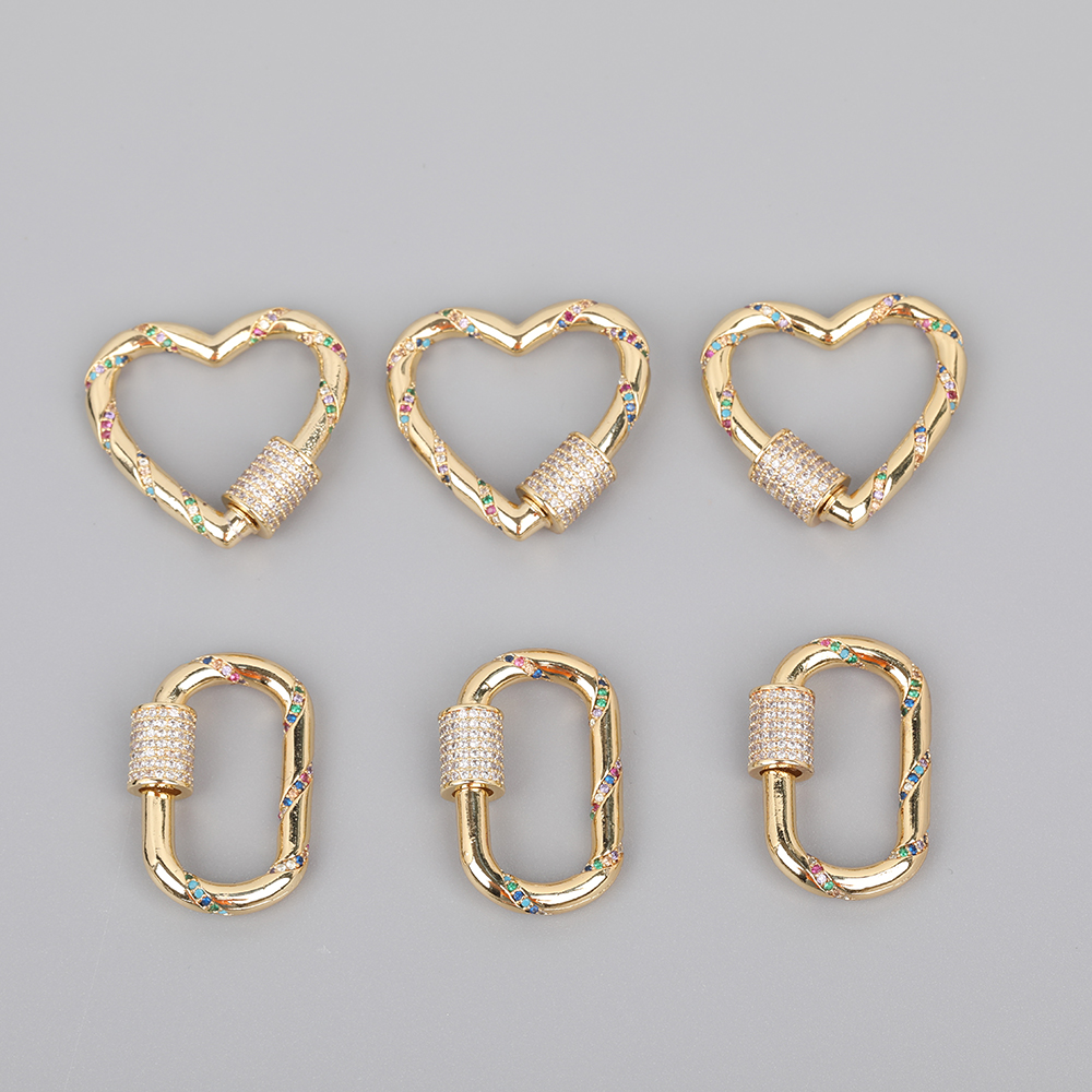5pcs/Lot 18x29mm Rainbow CZ Micro Pave Oval Heart Shape Lock Screw Clasps Zirconia Carabiner Clasps For DIY Jewelry Accessories