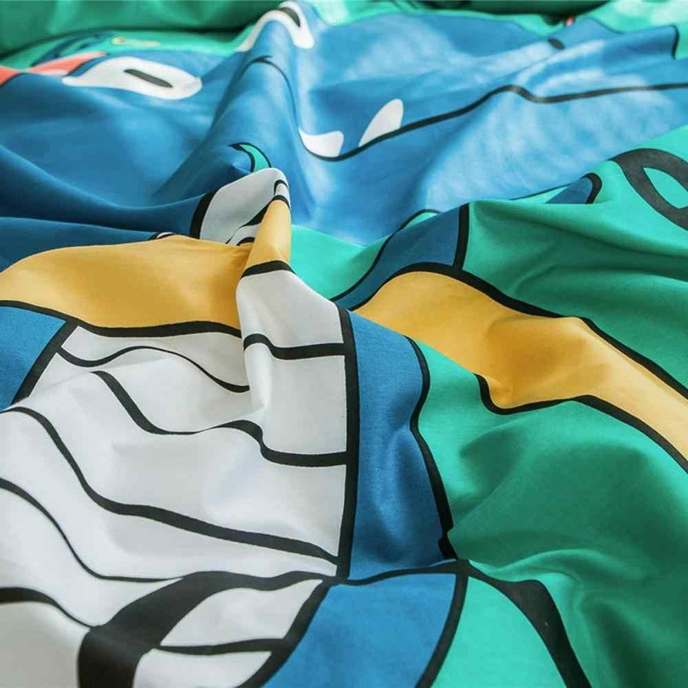 Papá y Mima lindo dinosaurio de dibujos animados de impresión de estilo moderno edredón funda edredón 100% algodón reina tamaño completo doble personalizado