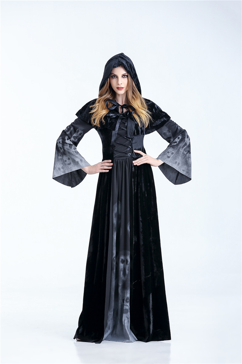 H57f4fcf3c1e84d7daed8aff8e0cb8fd07 - Horrible Skeleton Vampire Costume Purim Festival Hooded Witch Dress Ghost Demon Wicked Ball Devil Costume Women Scary Costumes