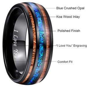 Image 4 - 8mm יוקרה שחור טונגסטן קרביד טבעת כחול אופל שיבוץ עץ גברים נשים חתונת אירוסין טבעת Bague Homme