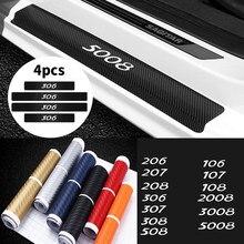 4 шт. защитные наклейки из углеродного волокна на порог двери автомобиля, декоративные наклейки на пороги для Peugeot 206 207 306 307 508 106 107 108 2008 3008