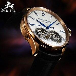 Image 2 - Marka adı çift volan otomatik mekanik saatler safir kristal 3ATM kemer iş moda volan erkek kol saati