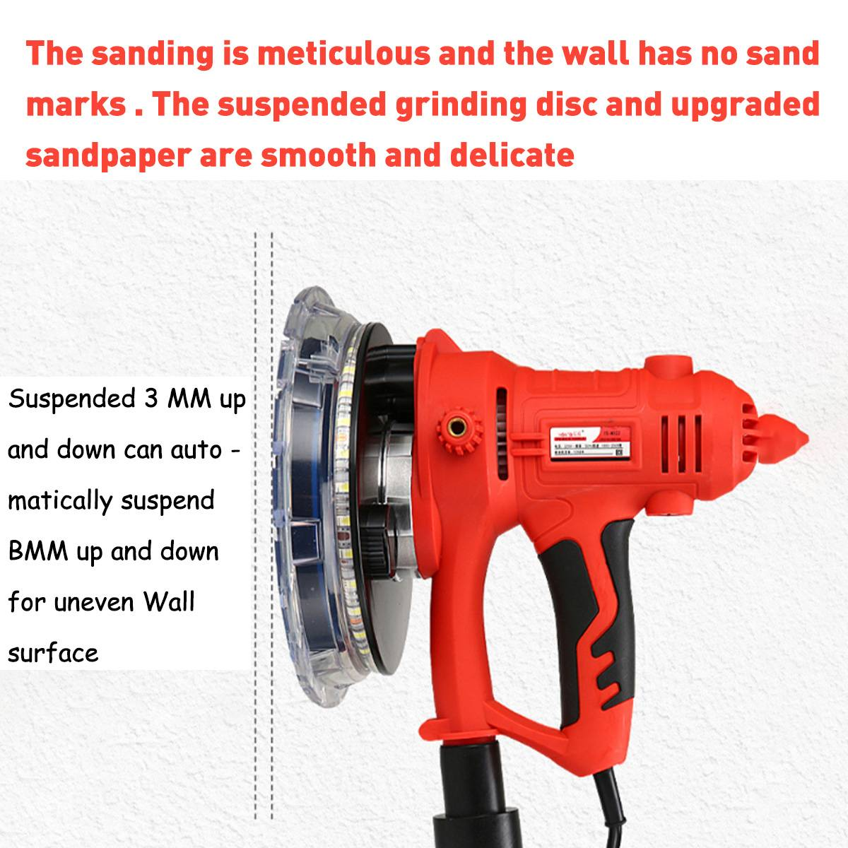 Tools : Doersupp Drywall Sander Wall Polishing Machine Grinding 220V 1350W Portable Led Light 1000-3000R min Wall Putty Polisher Machine
