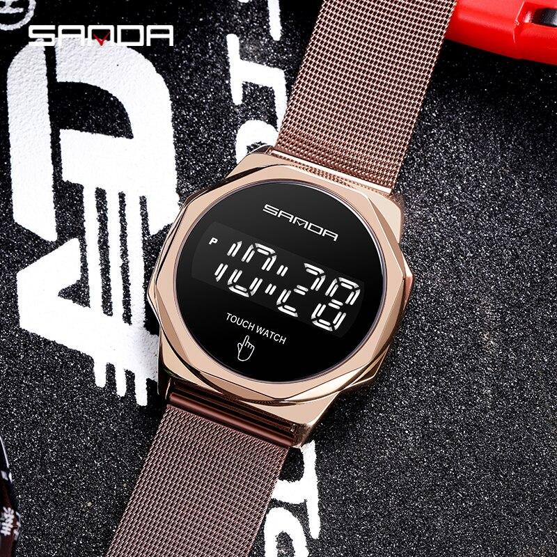 Montre-Bracelet numérique pour hommes, marque supérieure SANDA LED, mode, horloge, écran tactile, montre pour hommes 3