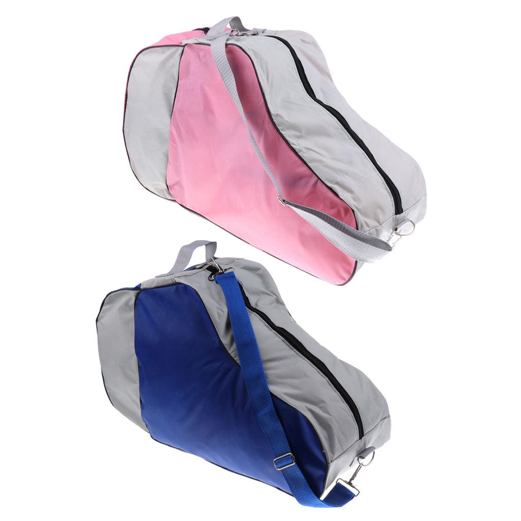 2 Pieces Blue & Pink Large Roller Skating Bag Adjustable Shoulder Strap Skates Carry Bag Case
