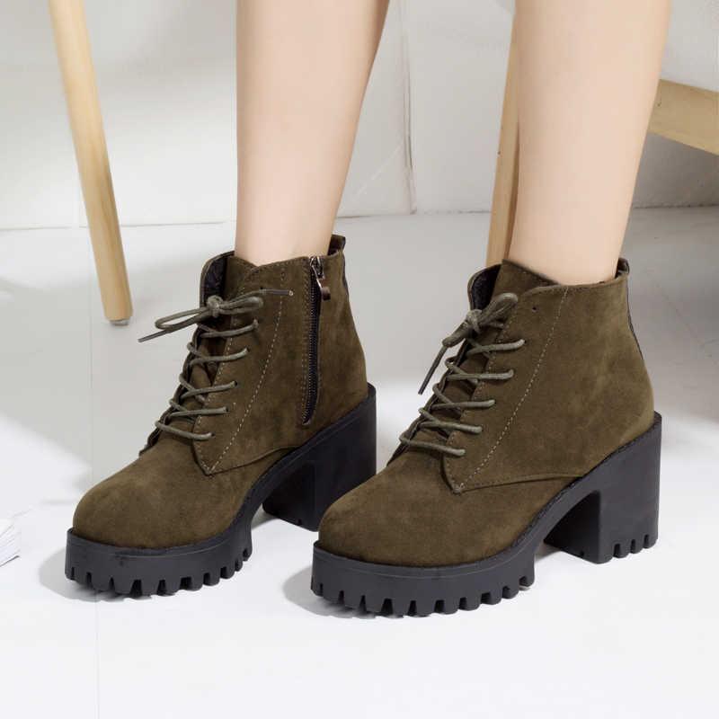 Mat Martin çizmeler Yüksek Topuklu ayak bileği bağcığı Botları Kadın Ayakkabı Siyah Platform Çizme botines mujer 2019 Kış botines A348
