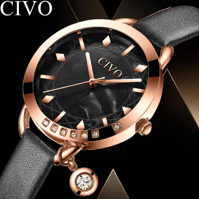 Woman Watch 2019 CIVO Quartz Watch Orologio Donna Top Brand Luxury Ultra Slim Strap Gold Watch Waterproof Rhinestones Case 8108