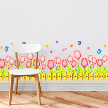 [Dreamarts] Flowers Baseboard Wall Sticker DIY Tulip Pink Flores Mural Art for Living Room Kids Rooms Decoration Pegatinas