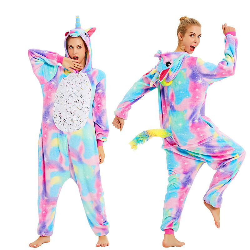 Image 2 - Women Kigurumi Unicorn Pajamas Sets Flannel Cute Animal Pajamas Kids Women Winter Stitch Tiger Nightie Pyjama Sleepwear Homewear-in Pajama Sets from Underwear & Sleepwears