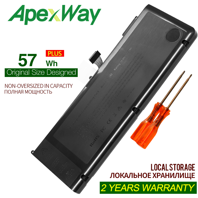 ApexWay 10.95V 57Wh A1382 A1286 Laptop Battery For Apple Macbook Pro 15