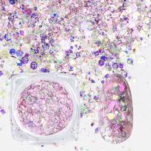1 Box Nail Mermaid Glitter Flakes Sparkly 3D Hexagon Colorful Sequins Paillette Spangles Polish Manicure Nails Art Decorations недорого